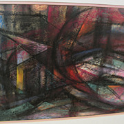Abstract art colorful contemporary signed pastel drawing