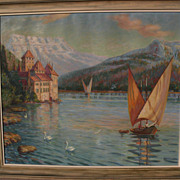 VICTOR H. NICKOL (1884-1956) large impressionist painting of Chateau de Chillon and Lake Geneva in Switzerland by noted California artist