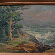 EDDA MAXWELL HEATH (1874-1972) Monterey California plein air art impressionist painting of cypress trees at the coast‏