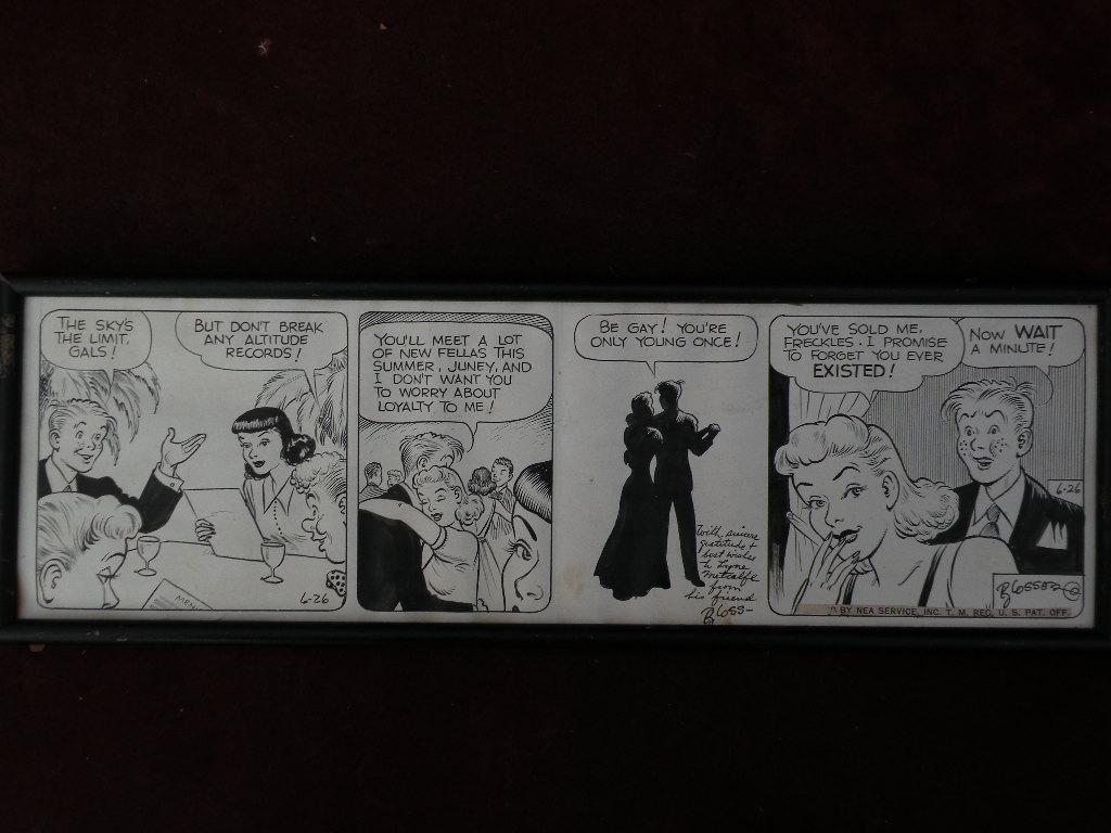 Original comic strip cartoon art FRECKLES AND HIS FRIENDS circa 1940's by Merrill Blosser