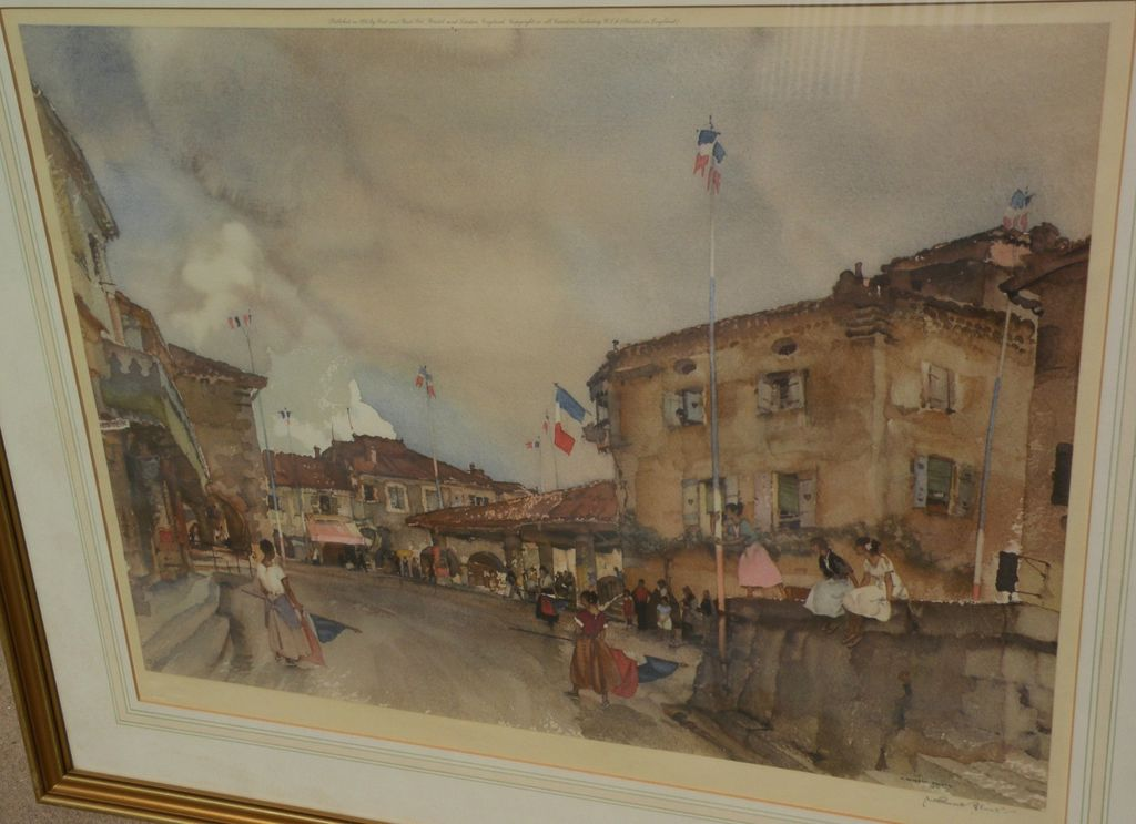"""WILLIAM RUSSELL FLINT (1880-1969) important English 20th century watercolor artist limited edition pencil signed photolithograph print """"Le Quatorze Juillet"""""""