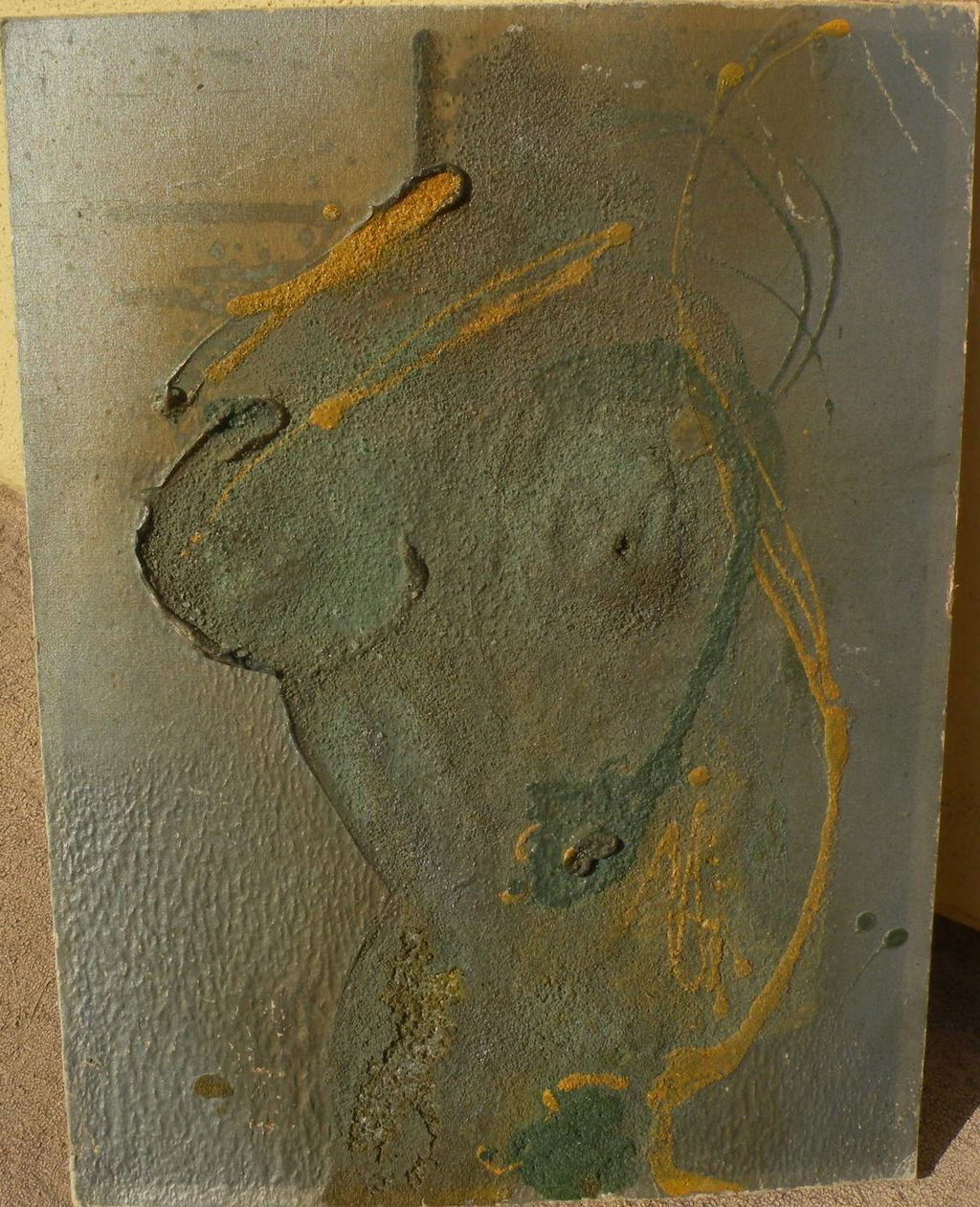 Modern art mid century oil and sand painting of female nude torso