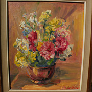 PAULINE BLISS WILLIAMS (1888-1962) impressionist floral still life painting by listed Massachusetts artist