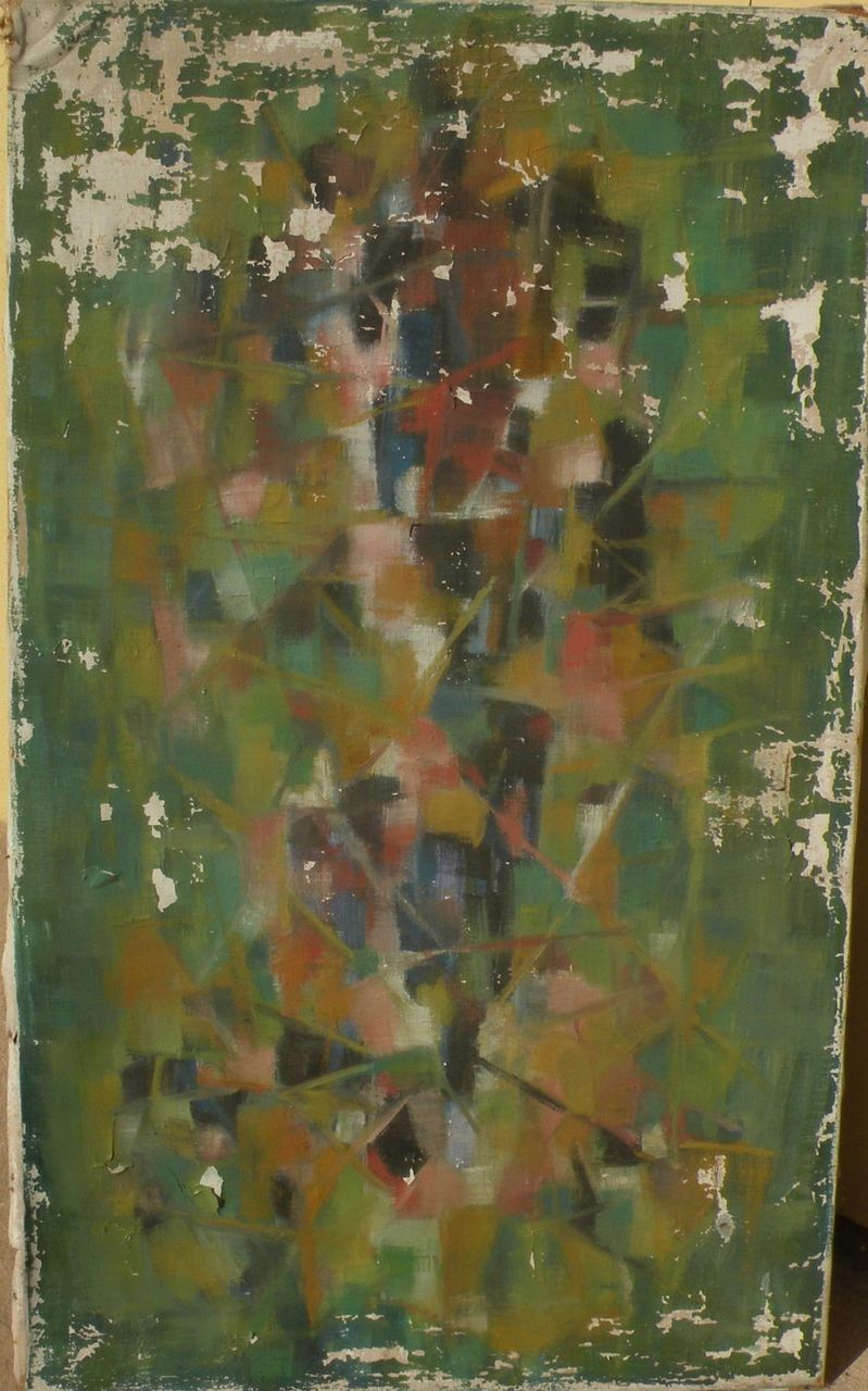 GIOVANNI GIULIANI (1893-1965) Italian modern abstract art former 1957 gallery painting in poor condition