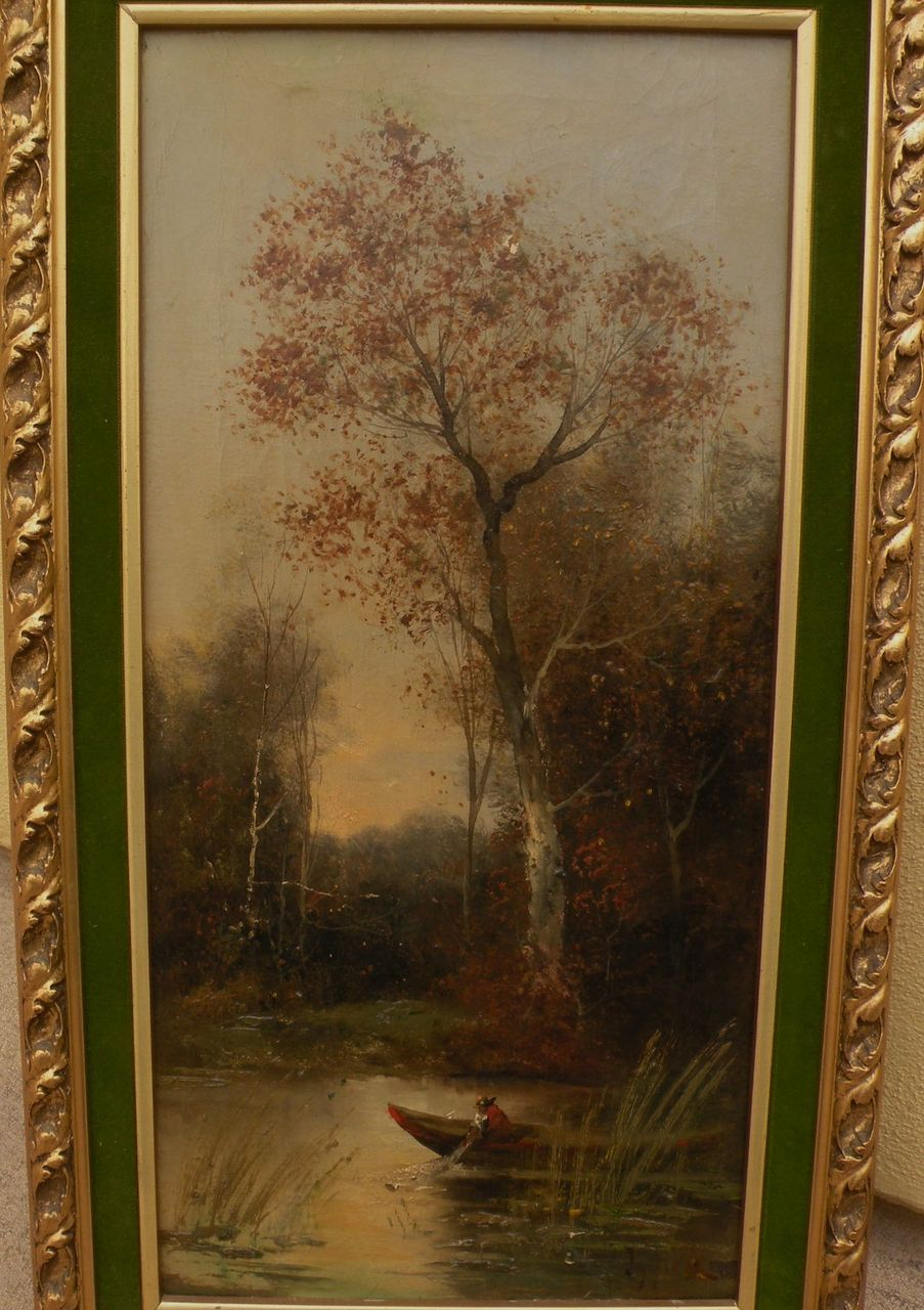 Circa 1900 antique signed landscape oil painting probably Hungarian artist