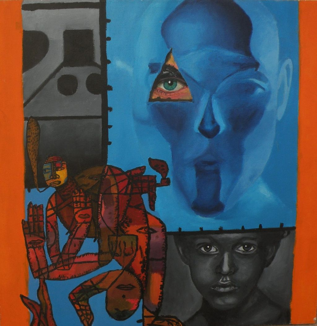 Modern art colorful surrealist-inspired painting of faces and figures