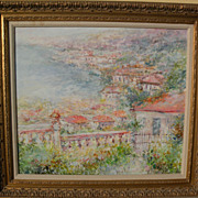 Contemporary large impressionist painting of a Mediterranean coastal town