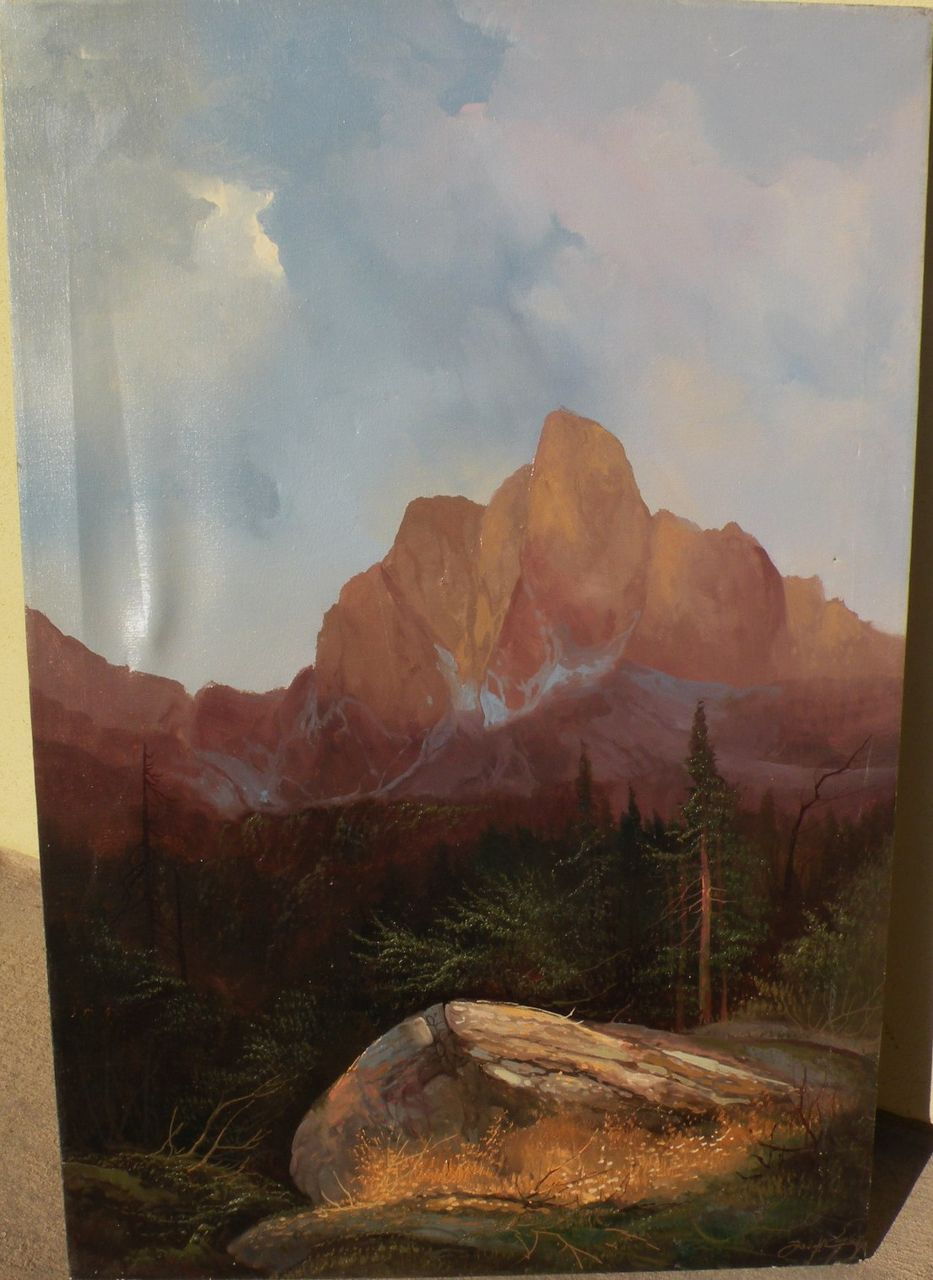 Signed luminous contemporary painting of high mountains