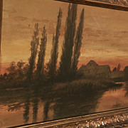 Signed antique atmospheric tonalist watercolor painting of a house and trees at sunset dated 1913