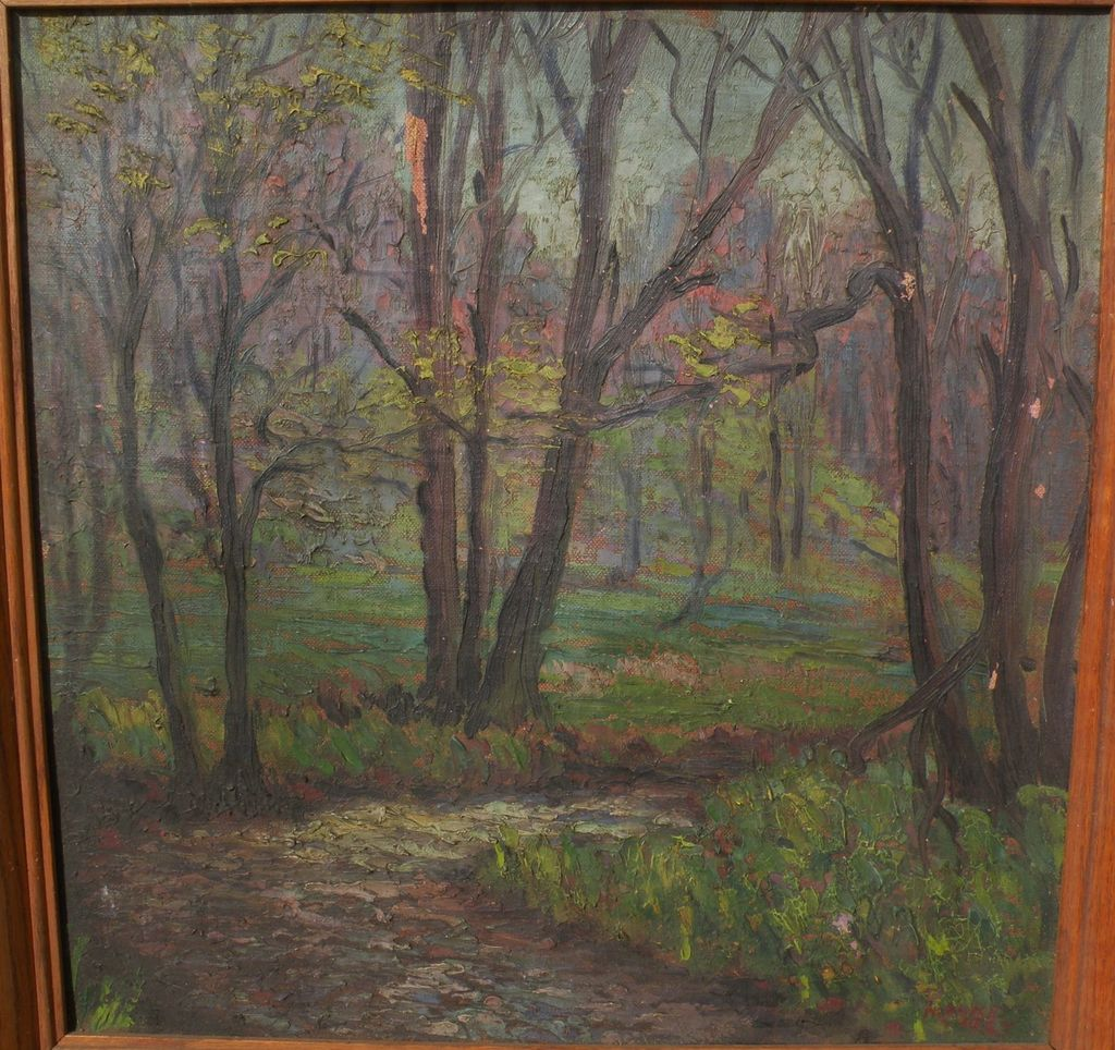 American art 1927 impressionist forest landscape painting signed MOORE