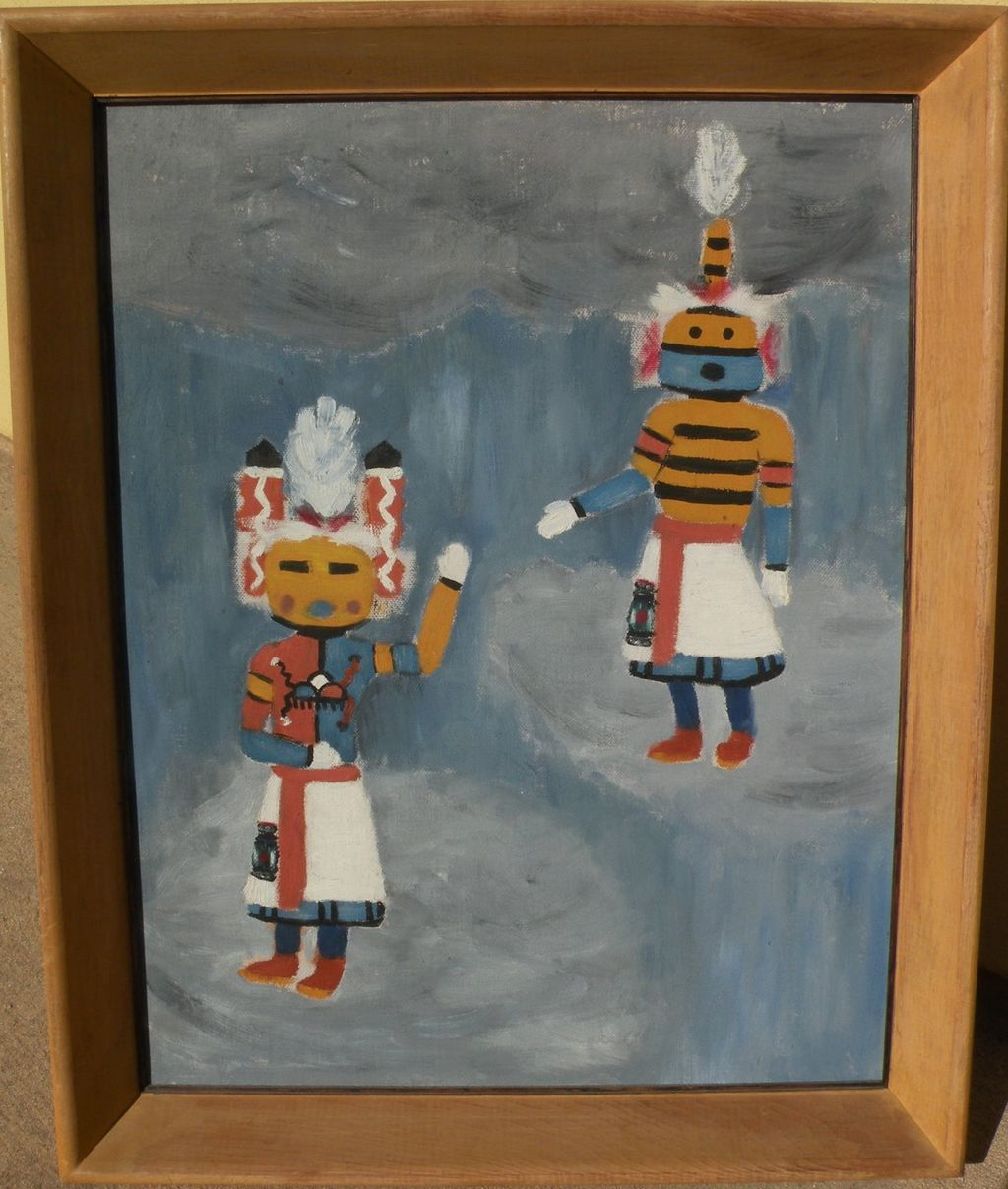 Southwestern American art vintage 1953 painting of katchina dolls