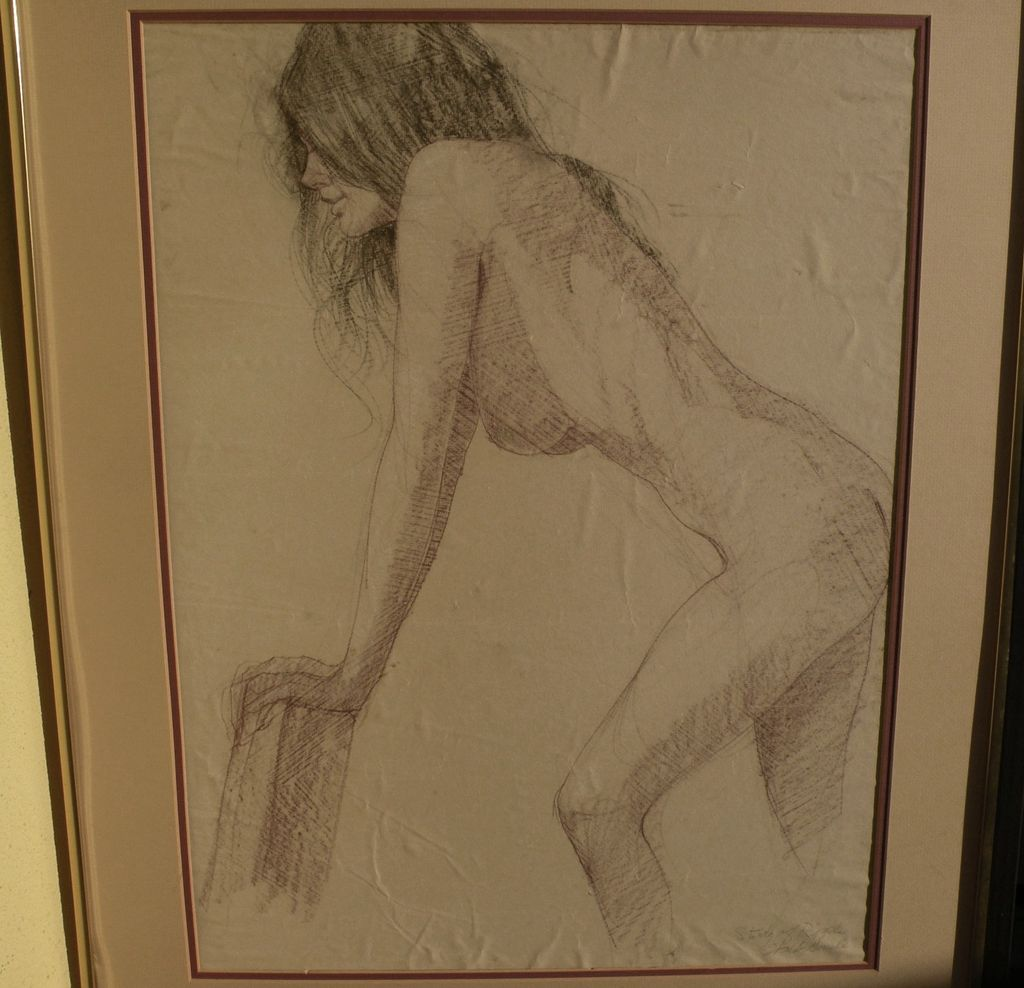 WALT GONSKE (1942-) charcoal and pencil drawing of a young nude woman by noted New Mexico listed artist