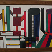Colorful modern art signed abstract painting‏