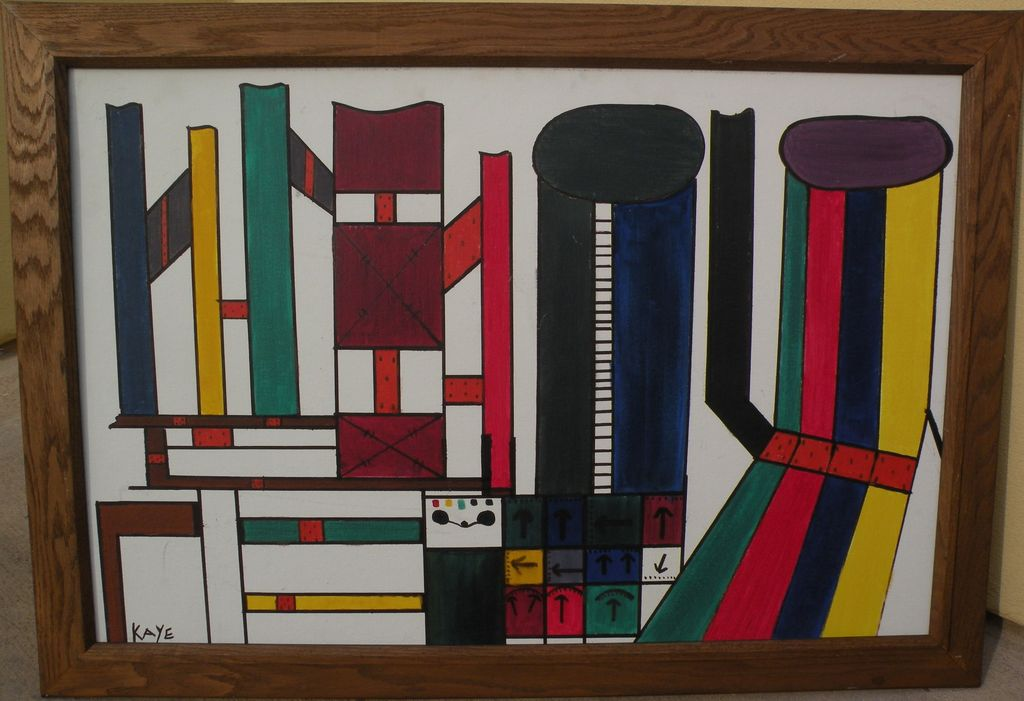 Colorful modern art signed abstract painting