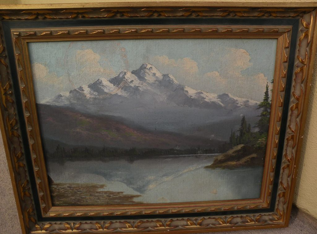 RICHARD DETREVILLE (1864-1929) Northern California art vintage mountain landscape painting
