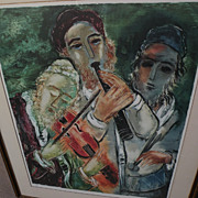 REUVEN RUBIN (1893-1974) Jewish art pencil signed photo lithograph print by major Israeli artist