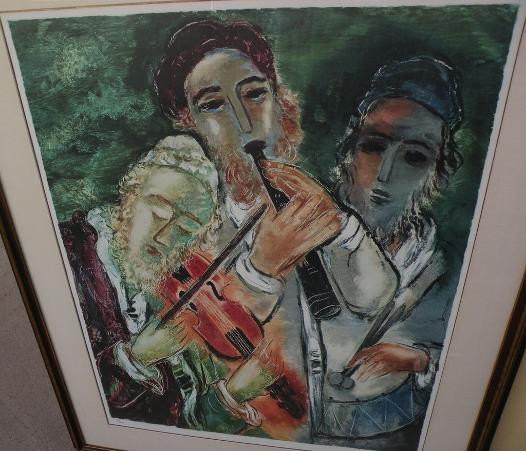 REUVEN RUBIN (1893-1974) Jewish art pencil signed photo lithograph print by major Israeli artist