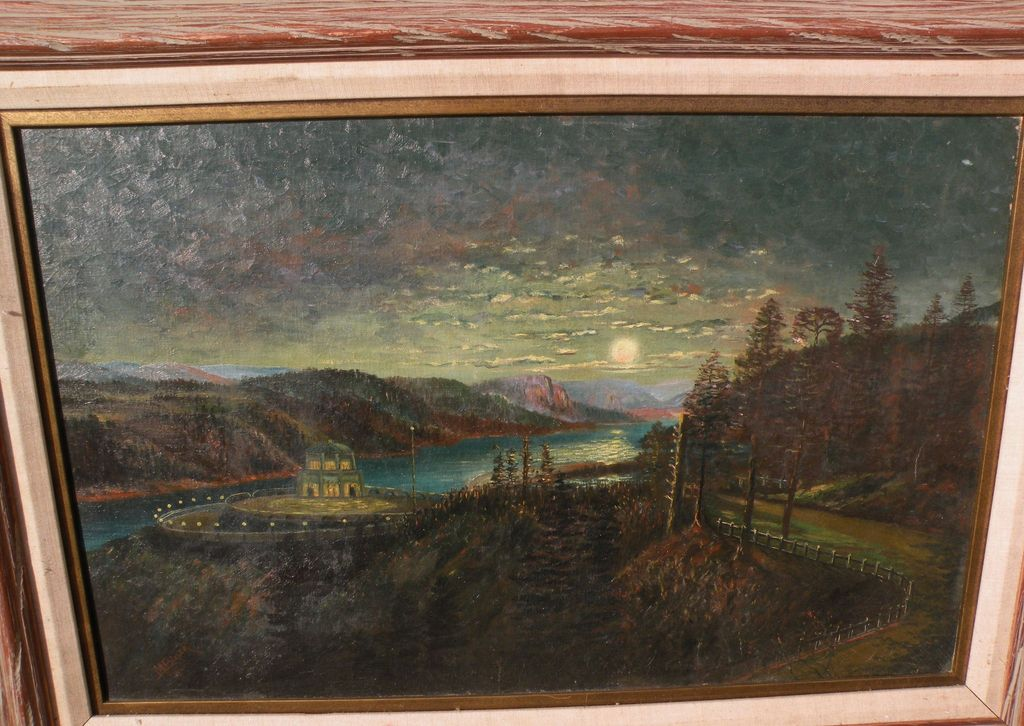 Northwest American art Oregon 1920 signed painting of Vista House at Crown Point on the Columbia River‏ Highway