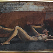 ZOLTAN SEPESHY (1898-1974) elegant mixed media drawing of a reclining female nude by well known Hungarian American listed artist