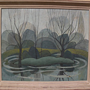 Canadian art modernist 1953 landscape painting reminiscent of Group of Seven signed F. SULLIVAN