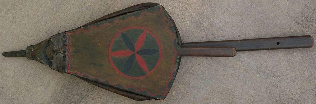 Americana folk art hex painted all original surface very large mid 19th century bellows