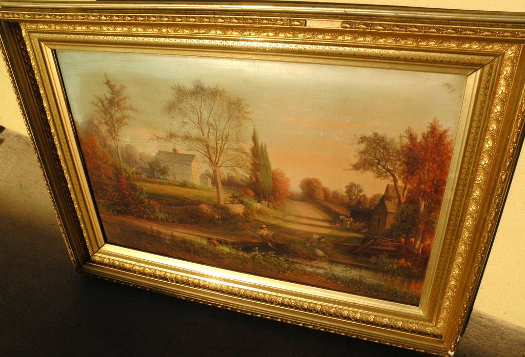 THOMAS HILL (1829-1908) chromolithograph print of New England scene published by Louis Prang