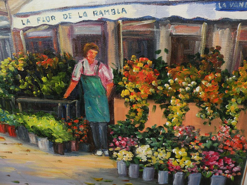 Colorful impressionist Spanish contemporary painting of flower stall from jbf