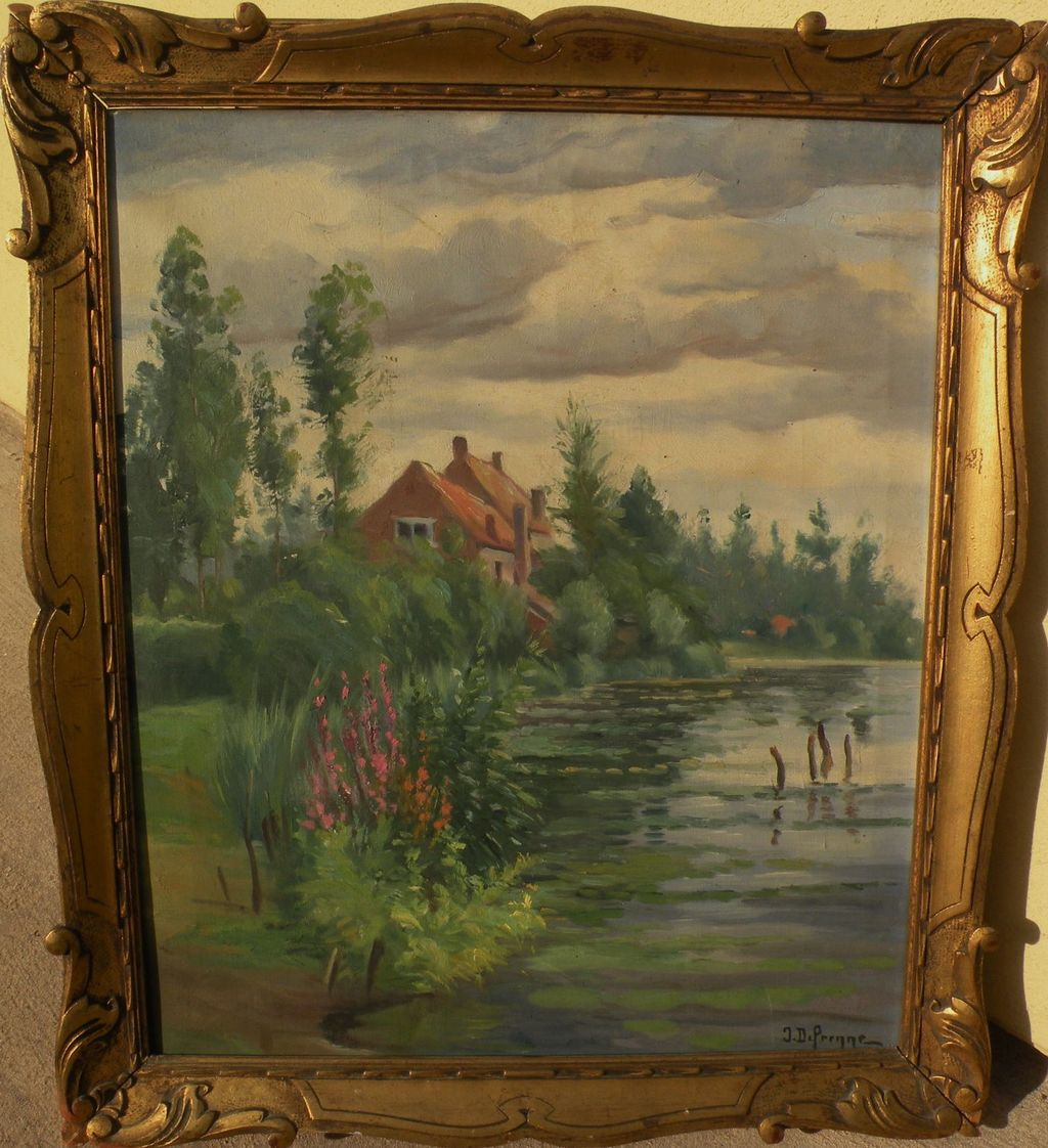 Vintage French Impressionist Signed Painting Of A Home