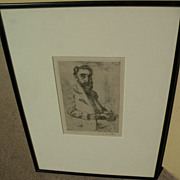 "LOVIS CORINTH (1858-1925) pencil signed etching ""Portrait of Hermann Struck"" by highly important German artist"