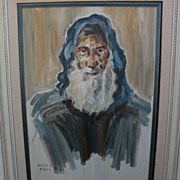 DAVID GILBOA (1910 -1976) Jewish art original oil painting of religious figure