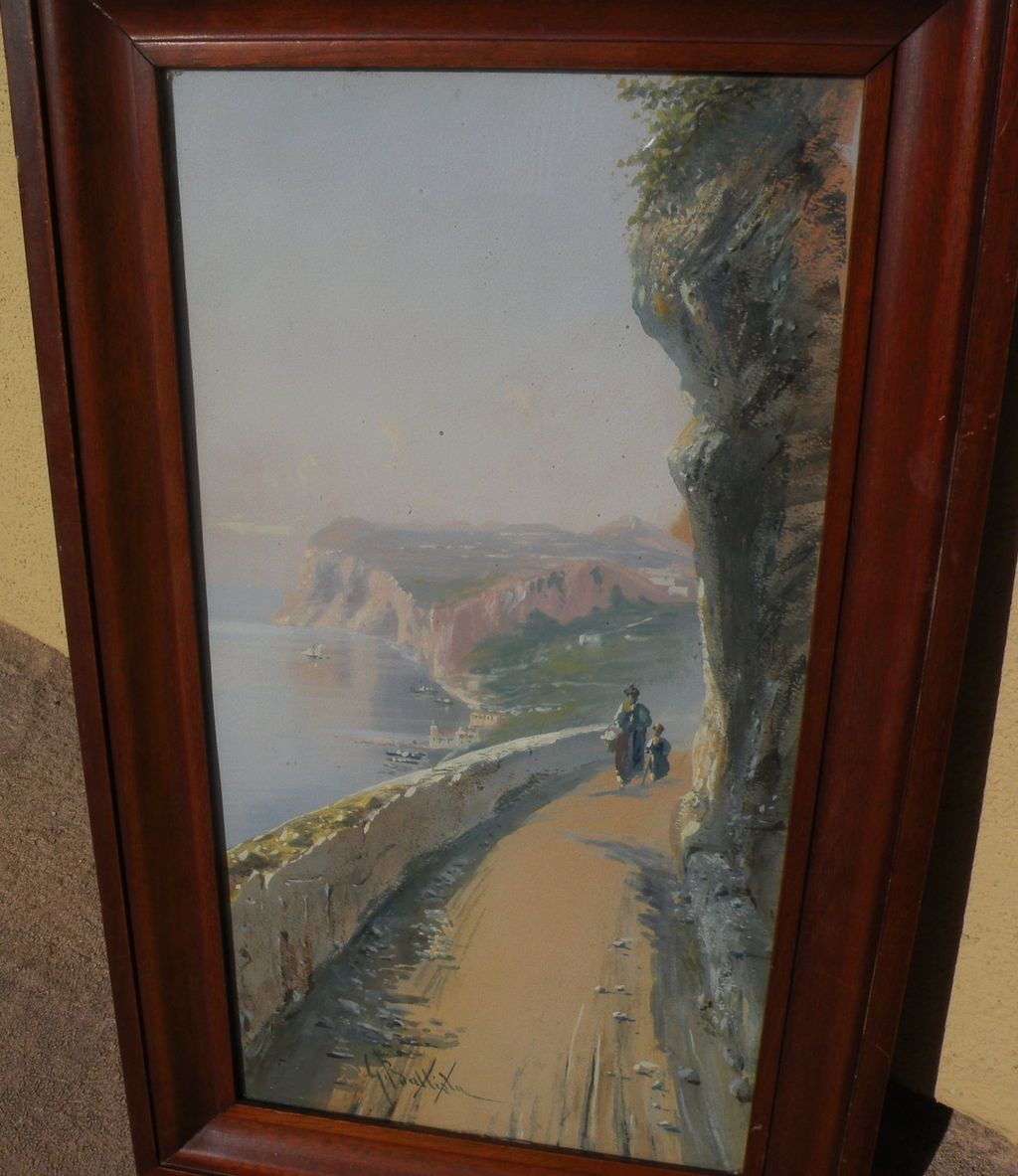 GIOVANNI BATTISTA (1858-1925) Italian art signed gouache coastal landscape painting with figure