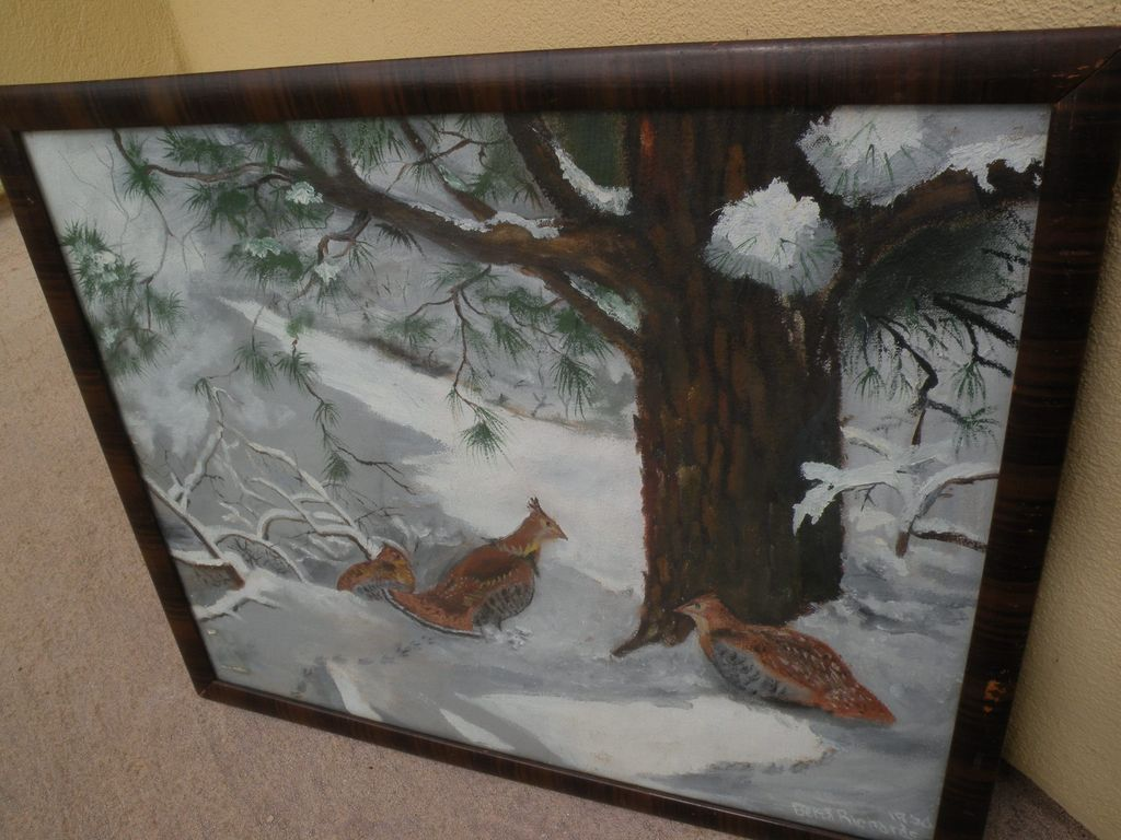 Colorado art 1950 signed painting of grouse in the snow