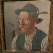 ANDREAS MITTERFELLER (1912-1972) German art 1947 portrait of traditional Bavarian gentleman in 19th century style by listed artist‏