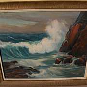GEORGE SANDERS BICKERSTAFF (1893-1954) California plein air art impressionist painting of coastal surf