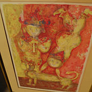 SAKTI BURMAN (1935-) pencil signed color lithograph by well listed contemporary Asian Indian artist