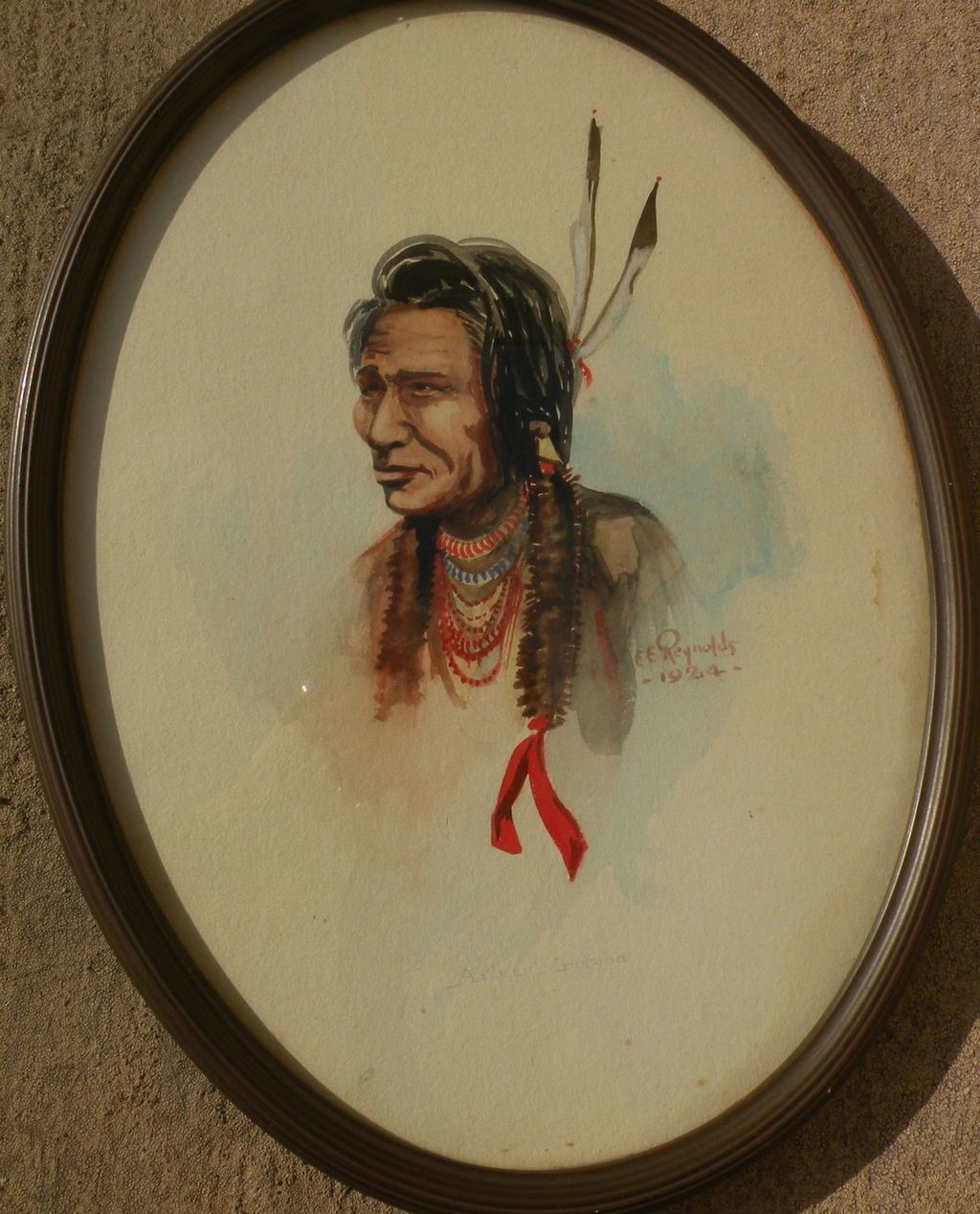 Western American art 1924 signed watercolor of Native American in style of Edgar Paxson