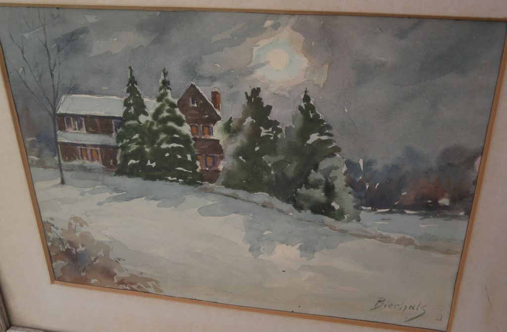"American art watercolor painting of home in the snow under full moon, signed ""Bierhals"""