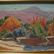 RAY CUEVAS (1932-) California plein air art 1999 painting of San Gabriel Mountains autumn landscape