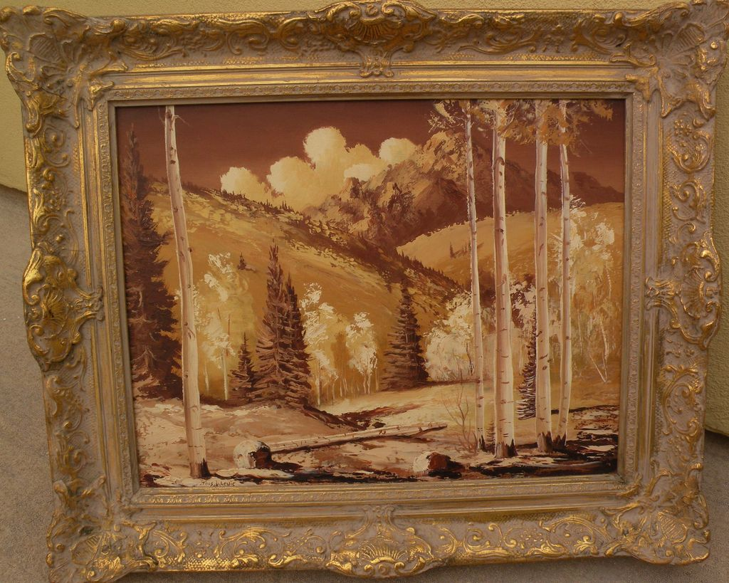 THOMAS L. LEWIS (1907-1978) New Mexico Taos art painting of aspen and mountains