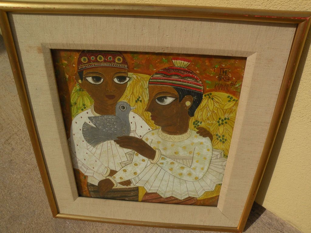 "BHAGWAN KAPOOR (1935-) modern Indian art signed gouache painting ""Two Children & a Bird"""