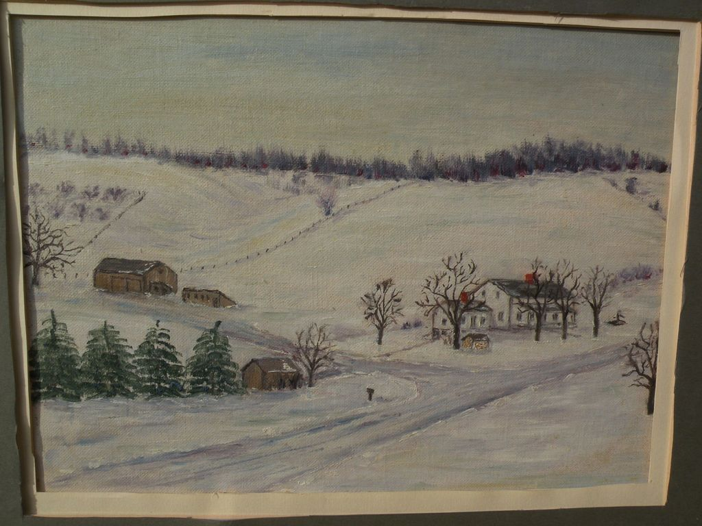 Naive folk art painting of winter landscape in the Northeast style of Grandma Moses