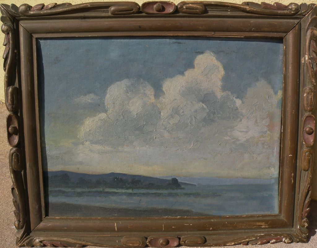 Circa 1940 American impressionist vintage coastal seascape oil painting in interesting old frame