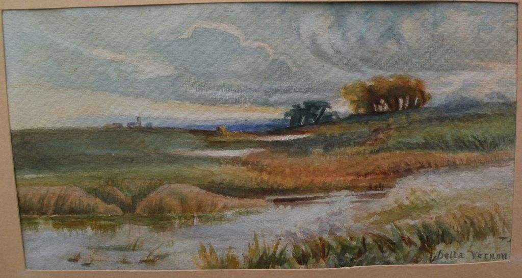 DELLA VERNON (1876-1962) California art vintage watercolor landscape painting