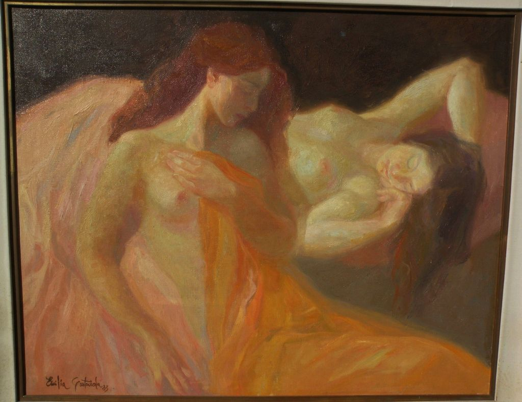 EMILIA CASTANEDA (1943-) Spanish art large impressionist painting of nudes by well listed artist