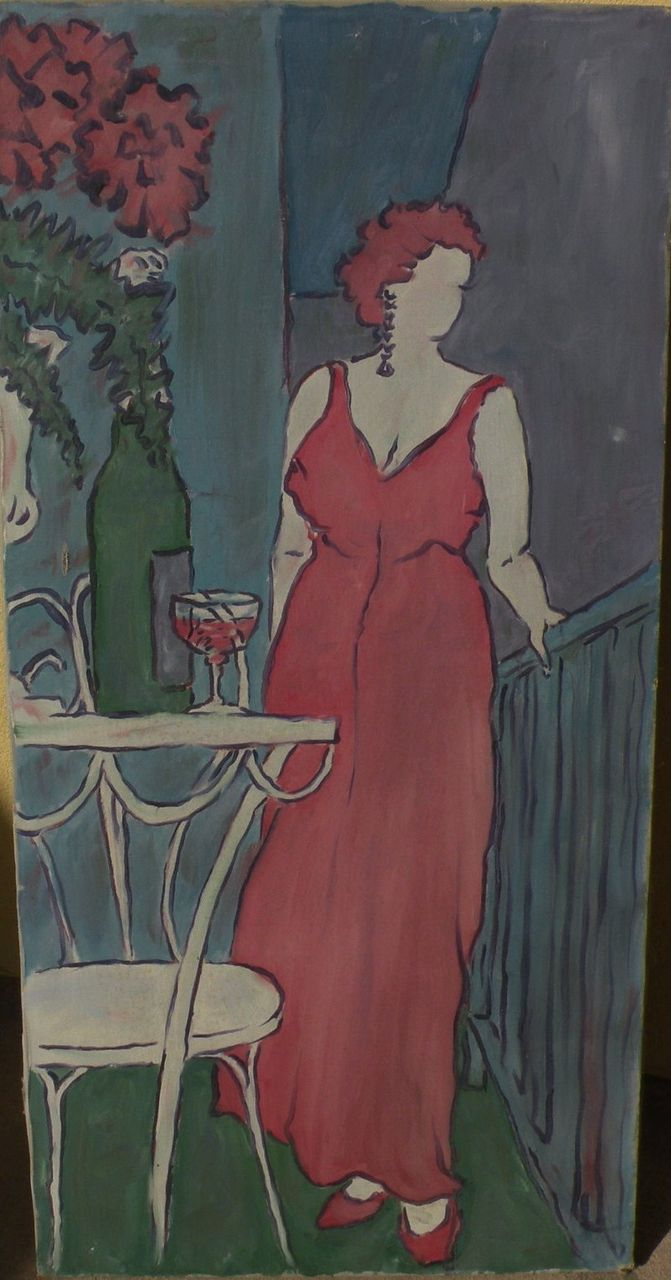 Decorative impressionist painting of an elegant lady on a terrace style of Matisse