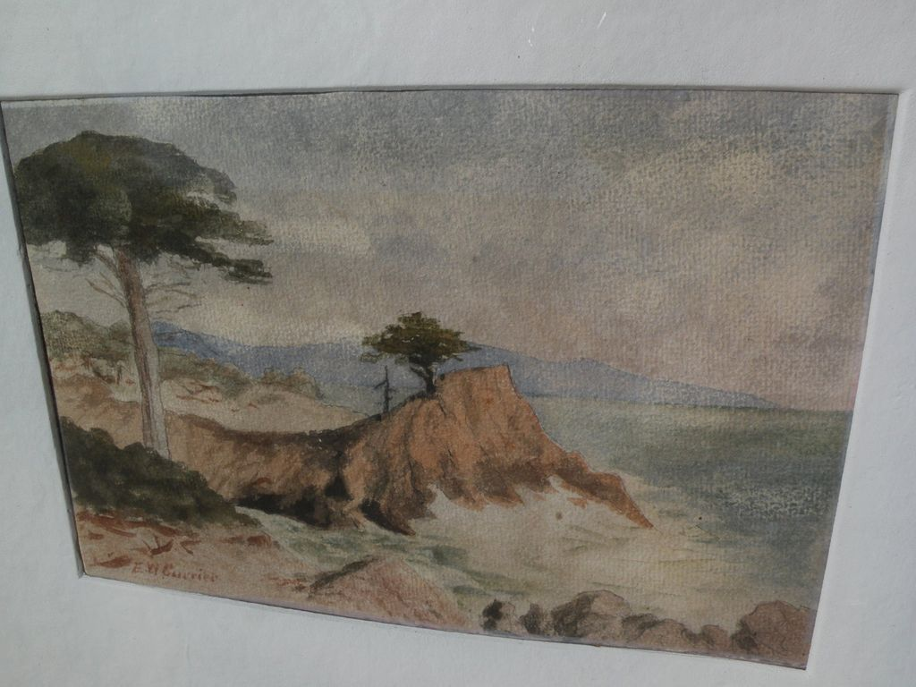 "EDWARD WILSON CURRIER (1857-1918) early California art watercolor painting of ""Lone Cypress"" at Carmel"