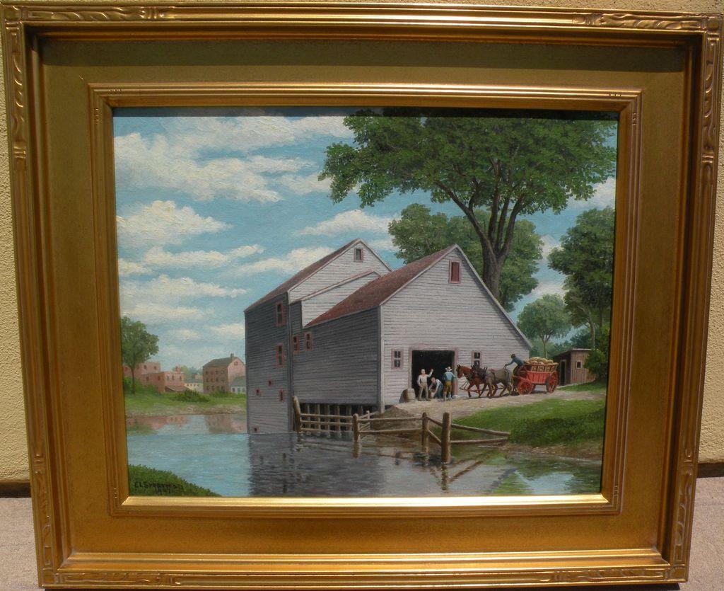 American 1942 regionalist landscape painting by artist E L Spearman