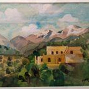 EDNA LEONHARDT ACKER (1904-) original watercolor of Santa Fe, New Mexico dated 1944 by noted Philadelphia woman artist‏
