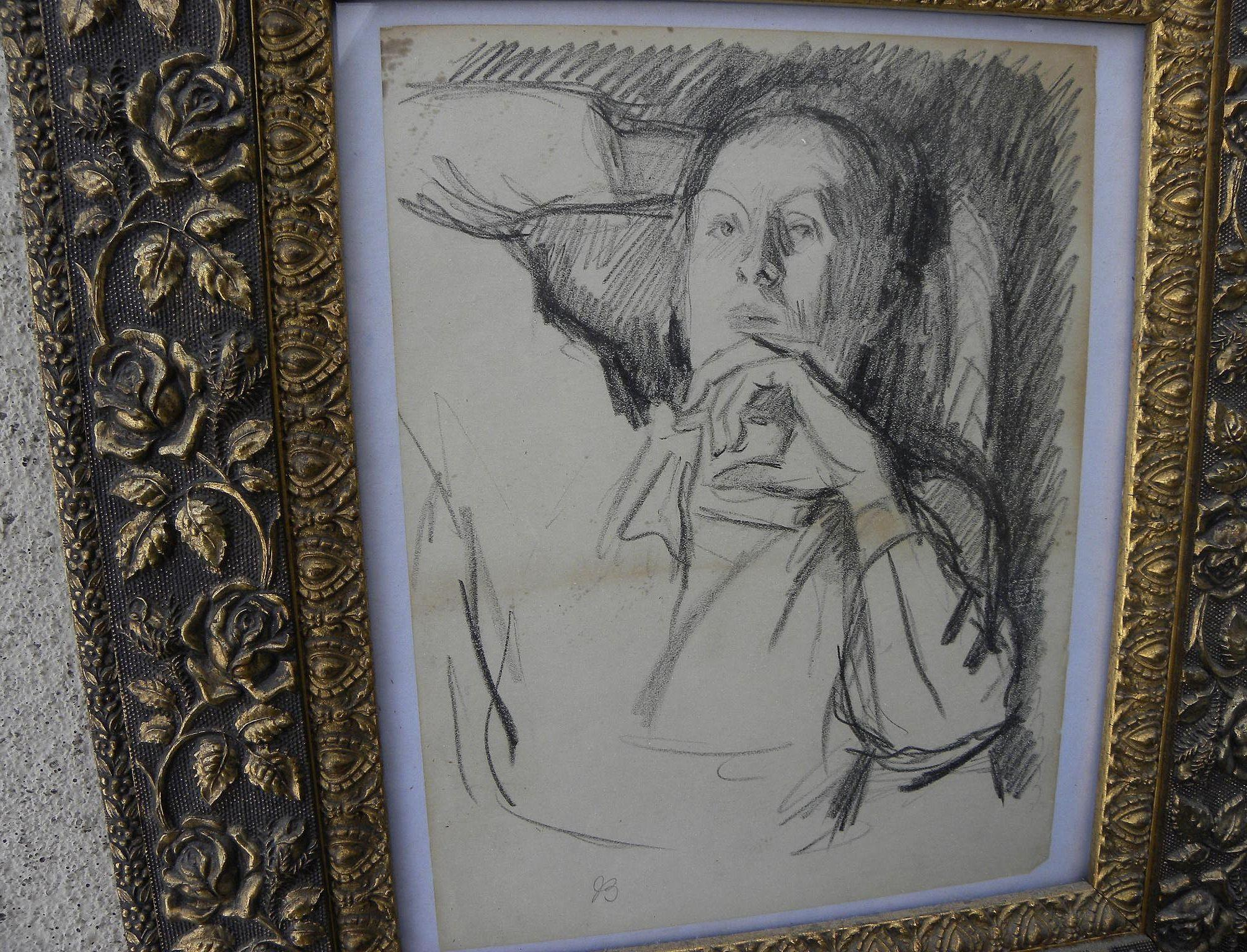 JULIUS BLOCH (1888-1966) original charcoal self-portrait drawing by well listed Philadelphia Jewish artist‏