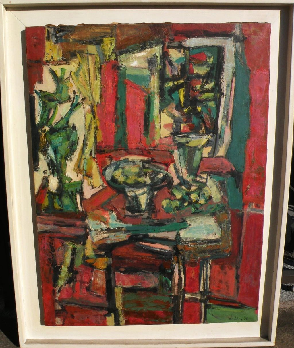 ERWIN WENDING (1914-1993) large mid century modern still life painting by listed Jewish German-American artist